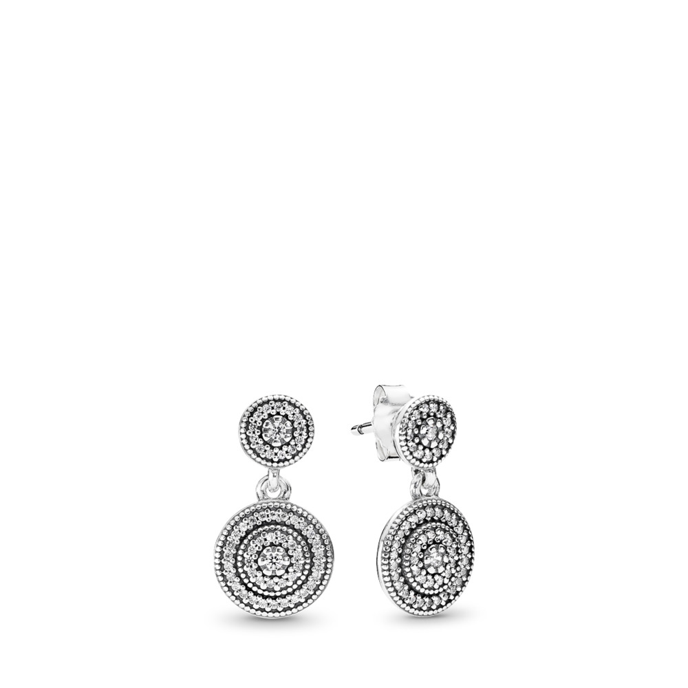 Radiant Elegance Drop Earrings, Clear CZ, Sterling silver, Cubic Zirconia - PANDORA - #290688CZ
