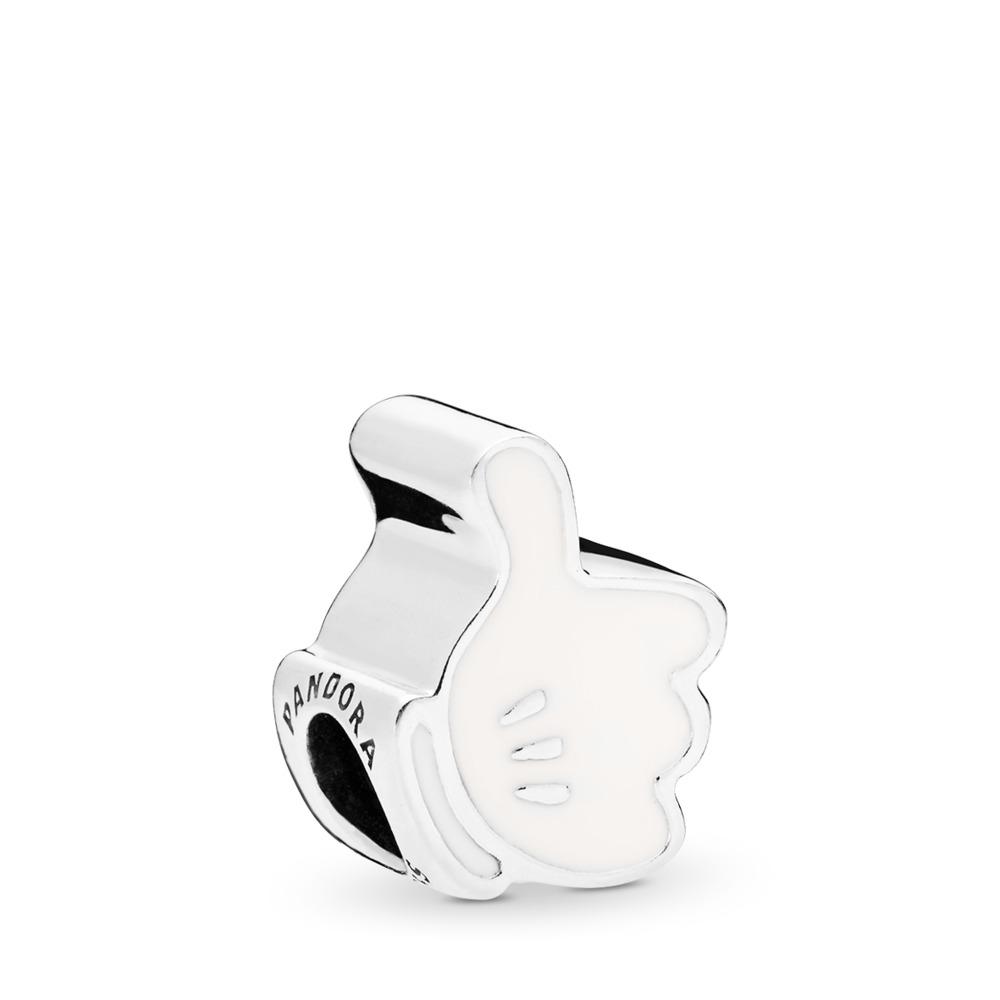 Disney, Mickey Iconic Glove Charm, White Enamel, Sterling silver, Enamel, White - PANDORA - #797179EN12