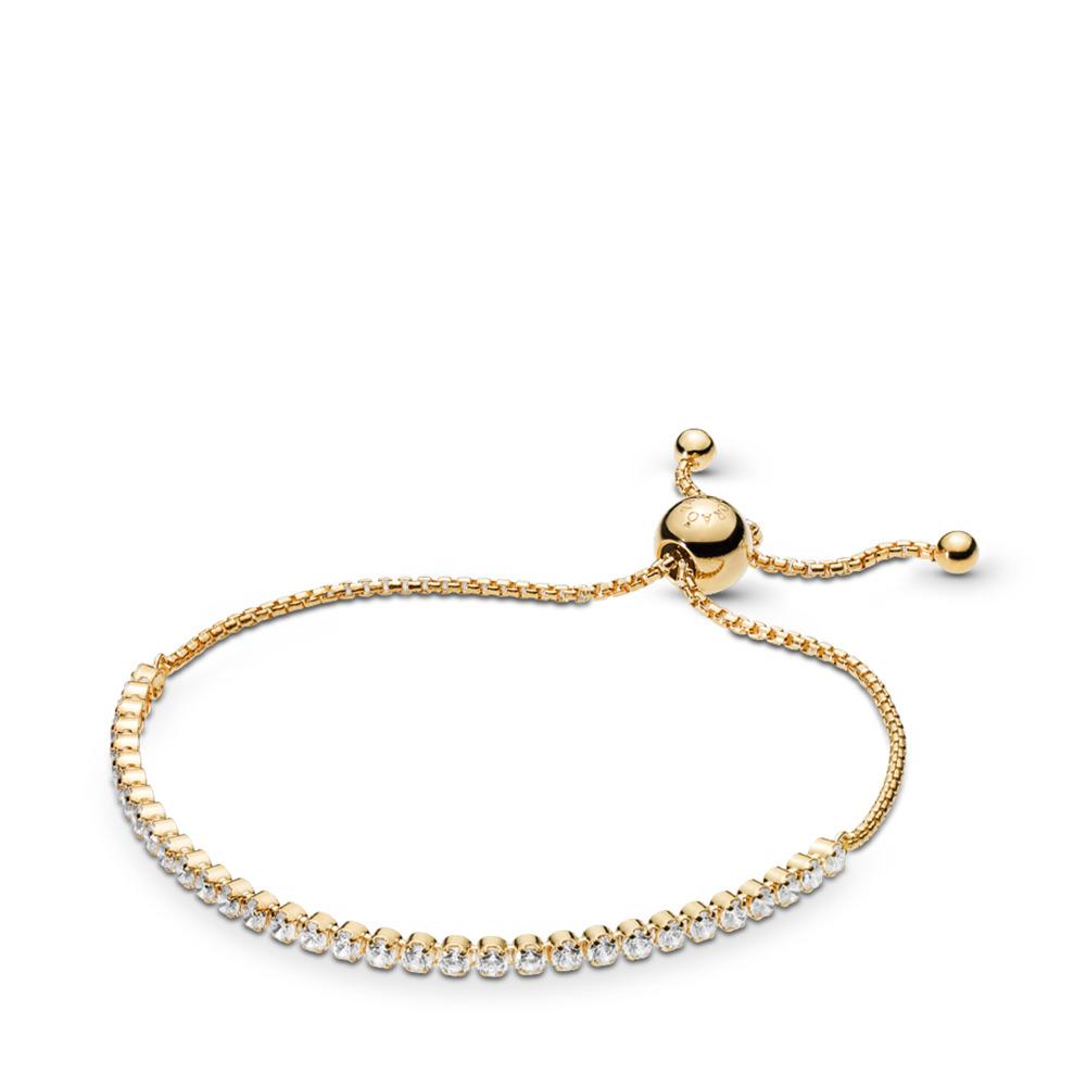 Sparkling Strand Bracelet, PANDORA Shine™ & Clear CZ, 18ct Gold Plated, Silicone, Cubic Zirconia - PANDORA - #560524CZ