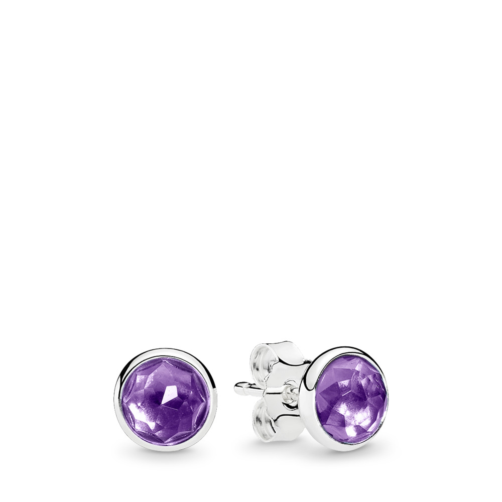 February Droplets Stud Earrings, Synthetic Amethyst, Sterling silver, Purple, Synthetic Amethyst - PANDORA - #290738SAM
