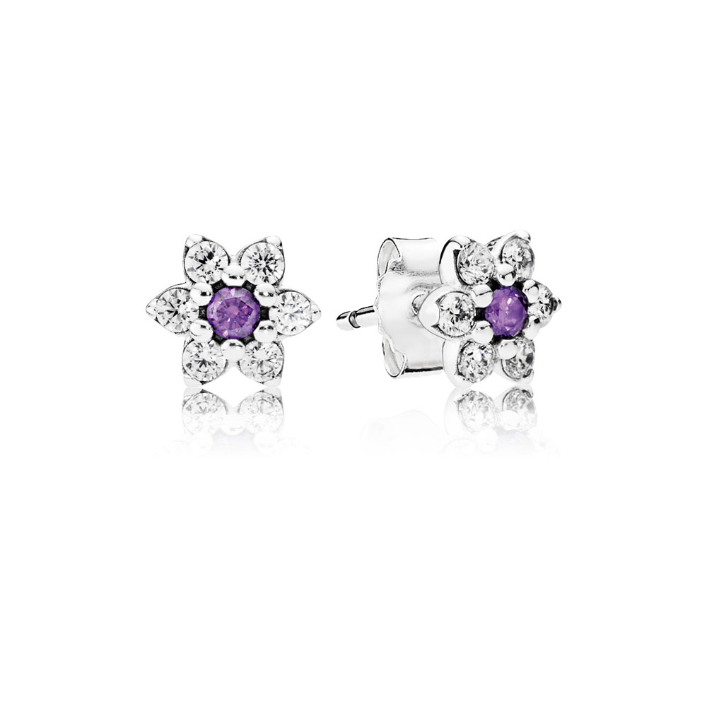 Forget Me Not Stud Earrings, Purple & Clear CZ