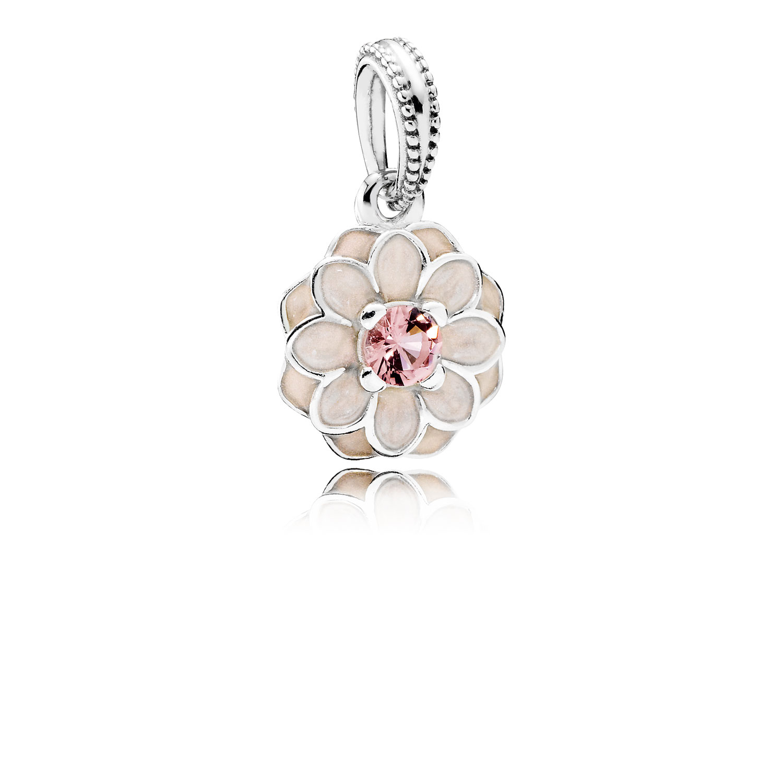 Blooming Dahlia Dangle Charm, Cream Enamel & Blush Pink Crystal