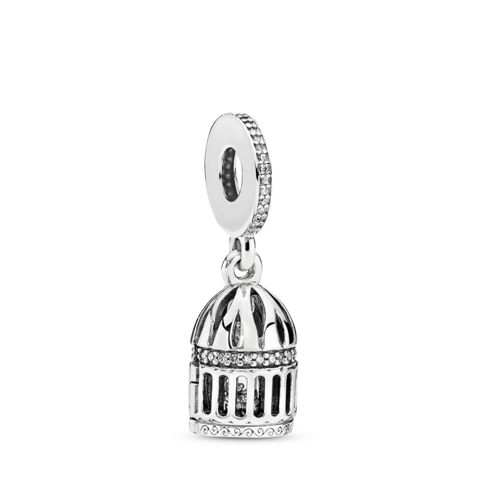 Free as a Bird Dangle Charm, Clear CZ, Sterling silver, Cubic Zirconia - PANDORA - #797575CZ