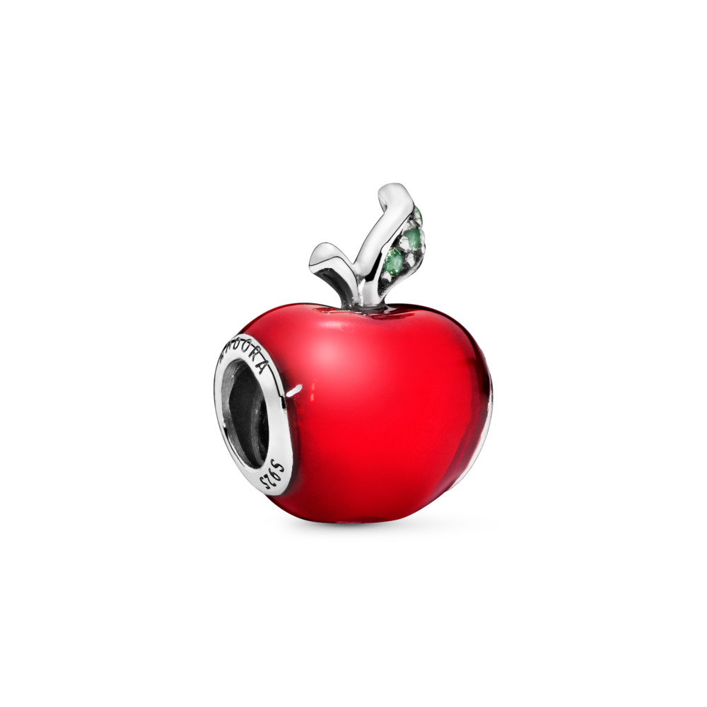 Disney Snow White's Red Apple Charm, Sterling silver, Enamel, Green, Cubic Zirconia - PANDORA - #791572EN73