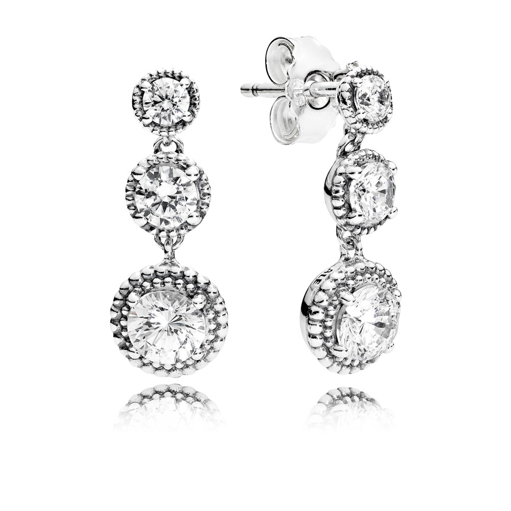 Eternal Elegance Drop Earrings, Clear CZ