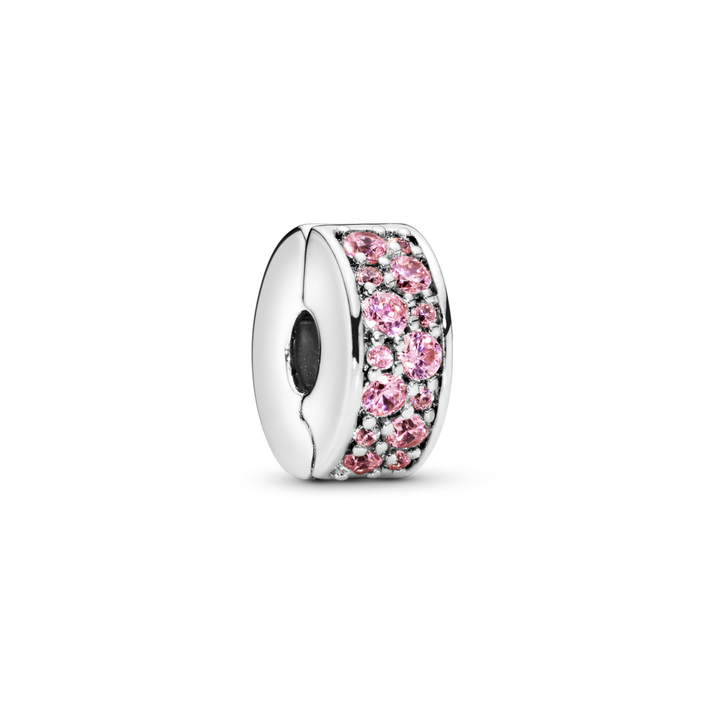 Shining Elegance Clip, Pink CZ, Sterling silver, Silicone, Pink, Cubic Zirconia - PANDORA - #791817PCZ
