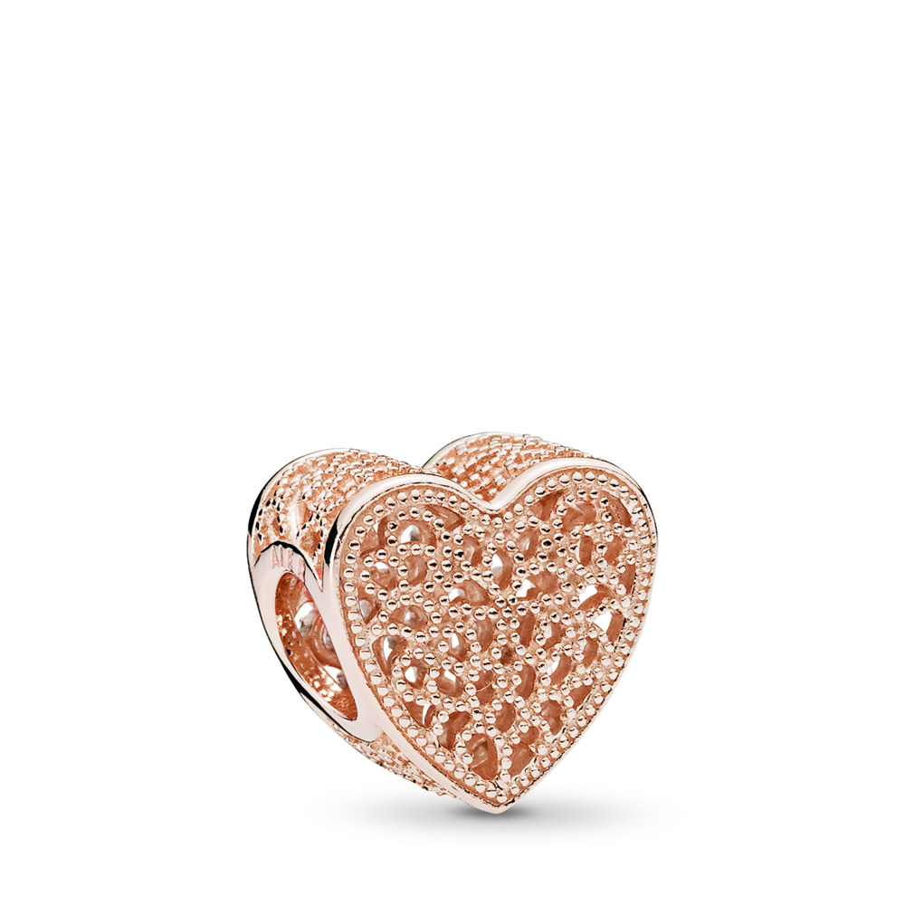 Filigree & Beaded Heart Charm, PANDORA Rose - PANDORA - #781811