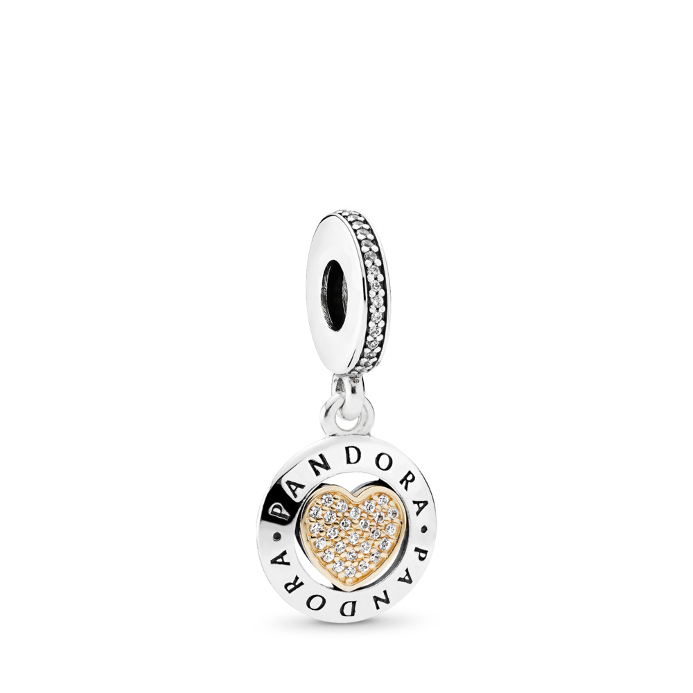 PANDORA Signature Heart Dangle Charm, Clear CZ, Two Tone, Cubic Zirconia - PANDORA - #792082CZ