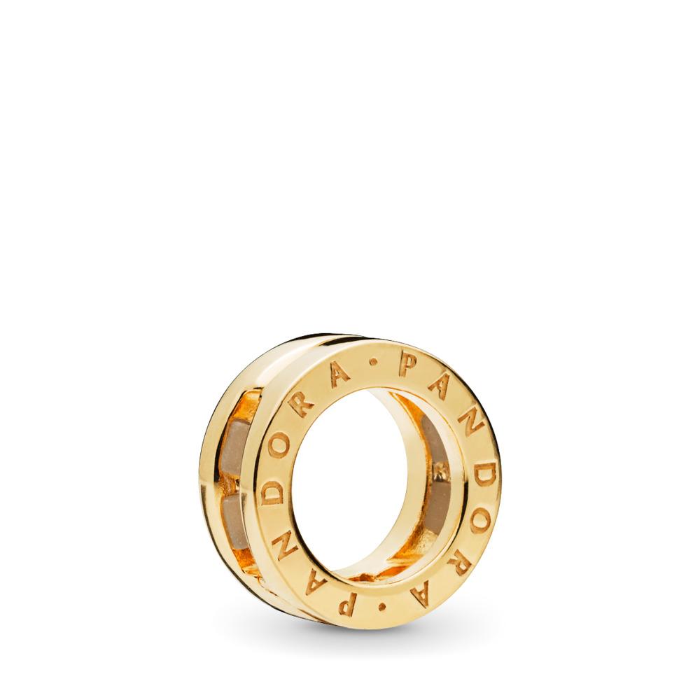 PANDORA Reflexions™ Logo Clip Charm, PANDORA Shine™, 18ct Gold Plated, Silicone - PANDORA - #767598