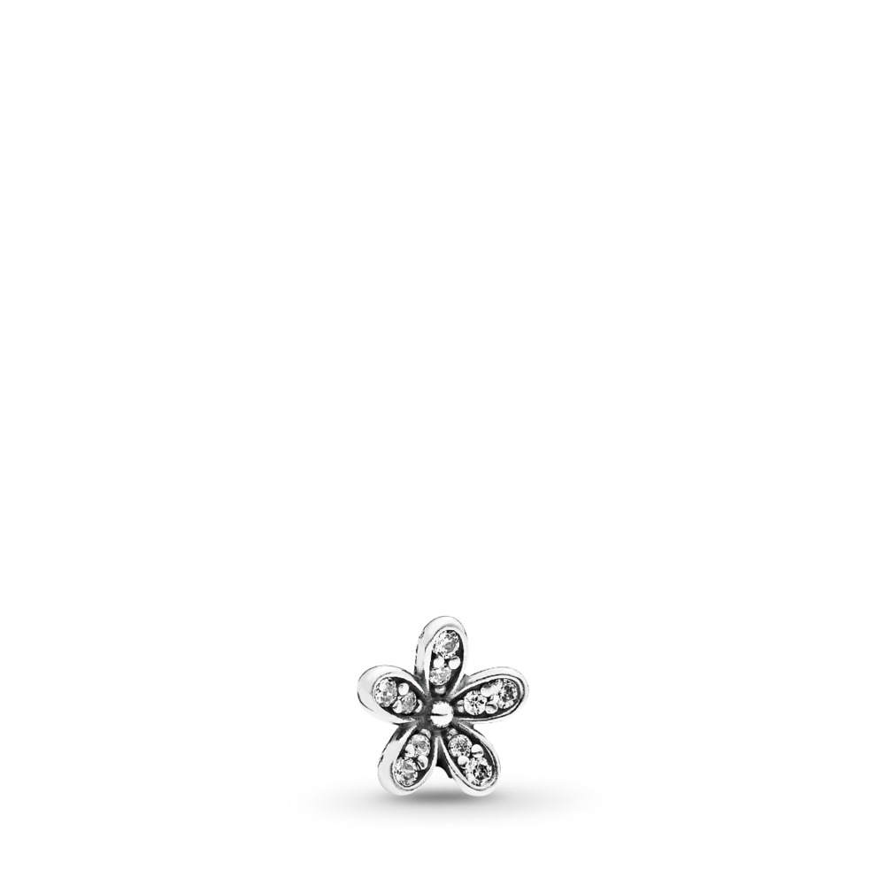 Sparkling Daisy Petite Locket Charm, Sterling silver, Cubic Zirconia - PANDORA - #792173CZ