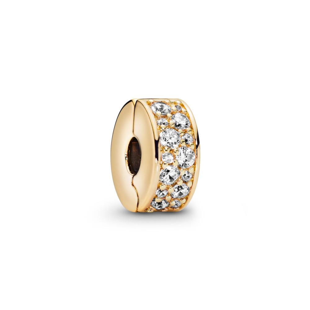 Shining Elegance Clip, PANDORA Shine™ & Clear CZ, 18ct Gold Plated, Silicone, Cubic Zirconia - PANDORA - #767164CZ