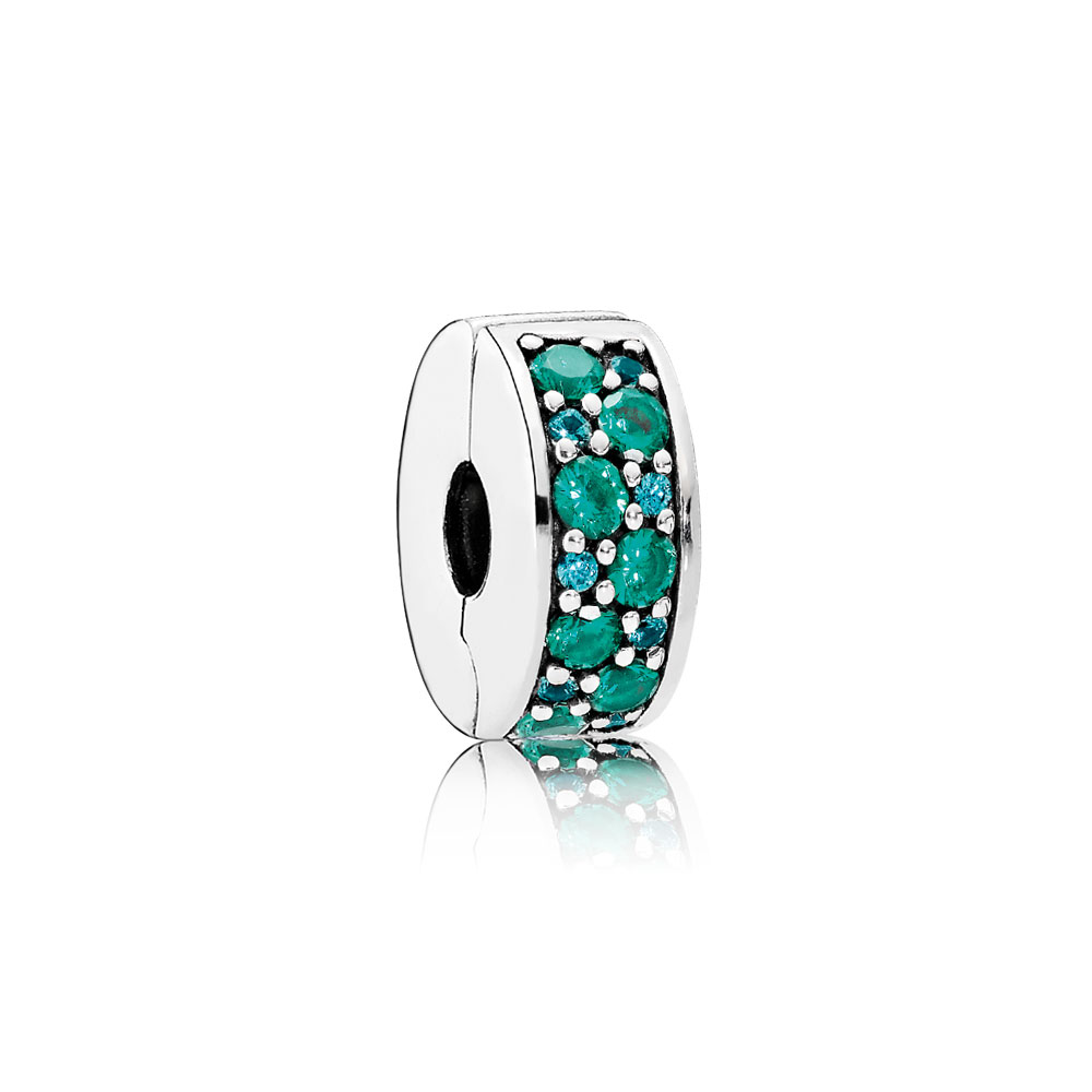 Mosaic Shining Elegance Clip, Multi-Colored Crystals & Teal CZ