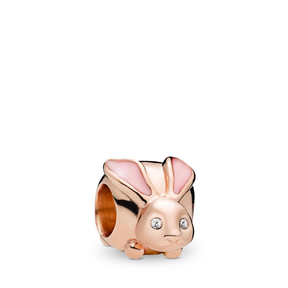 Cute Bunny Charm, PANDORA Rose™, PANDORA Rose, Enamel, Pink, Cubic Zirconia - PANDORA - #787061EN160