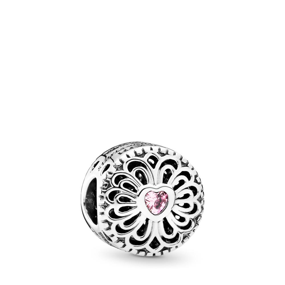 Love & Friendship, Pink CZ, Sterling silver, Pink, Cubic Zirconia - PANDORA - #791955PCZ