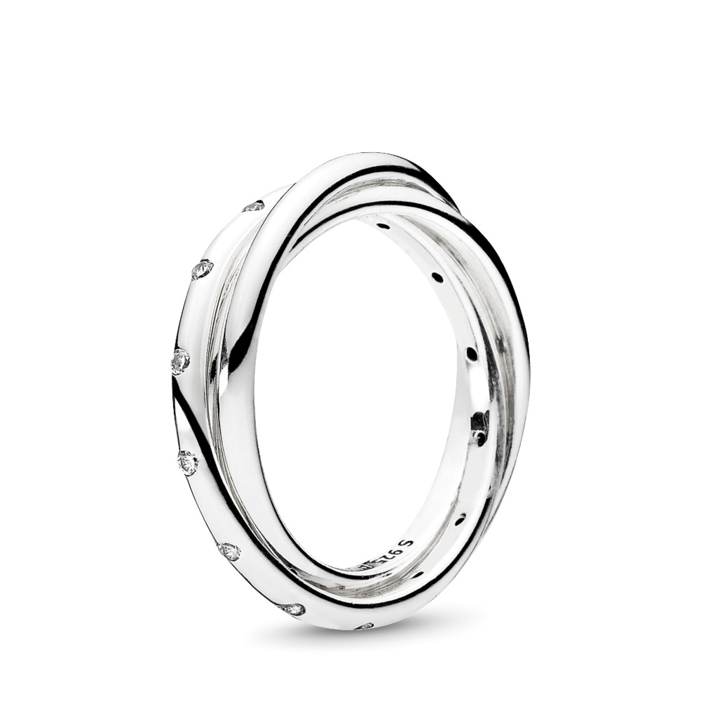 Swirling Symmetry Ring, Clear CZ, Sterling silver, Cubic Zirconia - PANDORA - #191034CZ