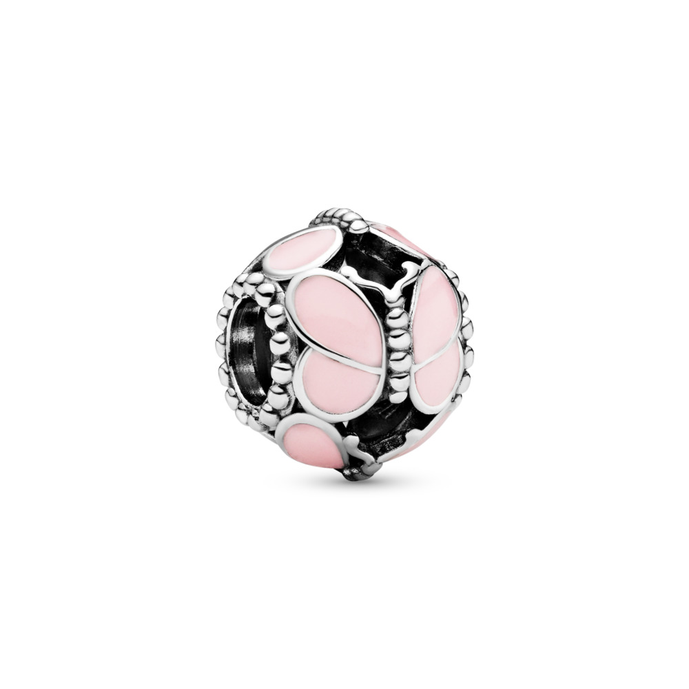 Pink Butterflies Charm, Sterling silver, Enamel, Pink - PANDORA - #797855EN160