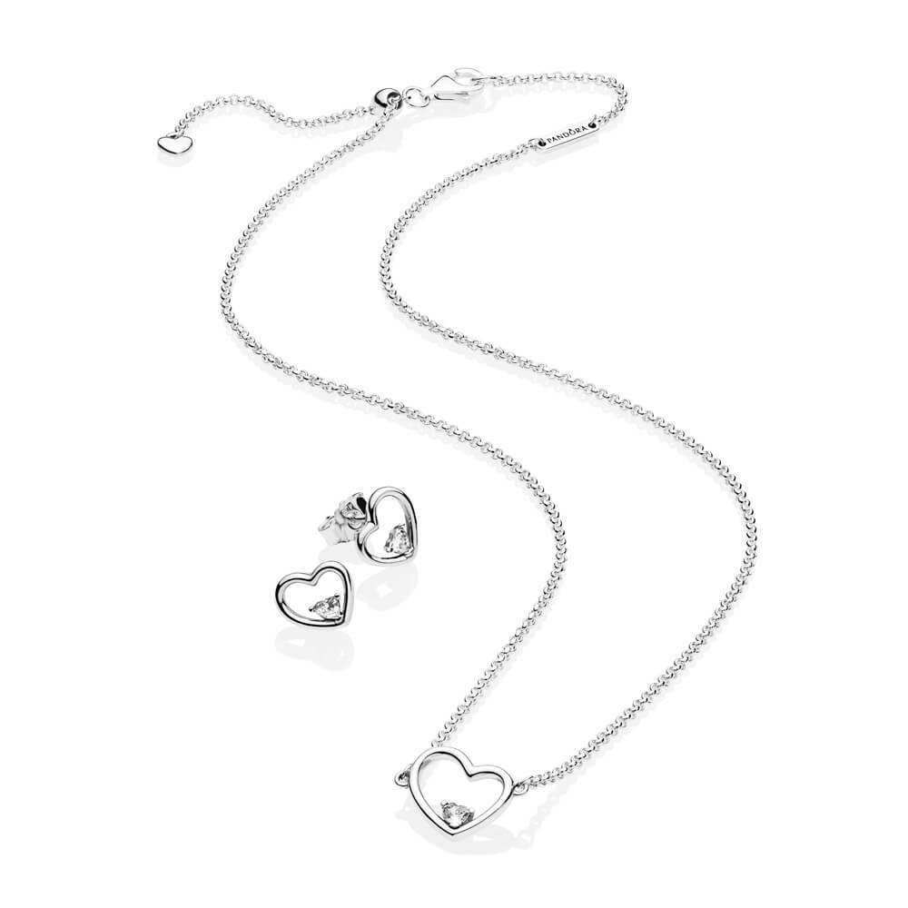 Shape Of My Heart Jewelry Gift Set, Sterling Silver, Cubic Zirconia - PANDORA - #B801111