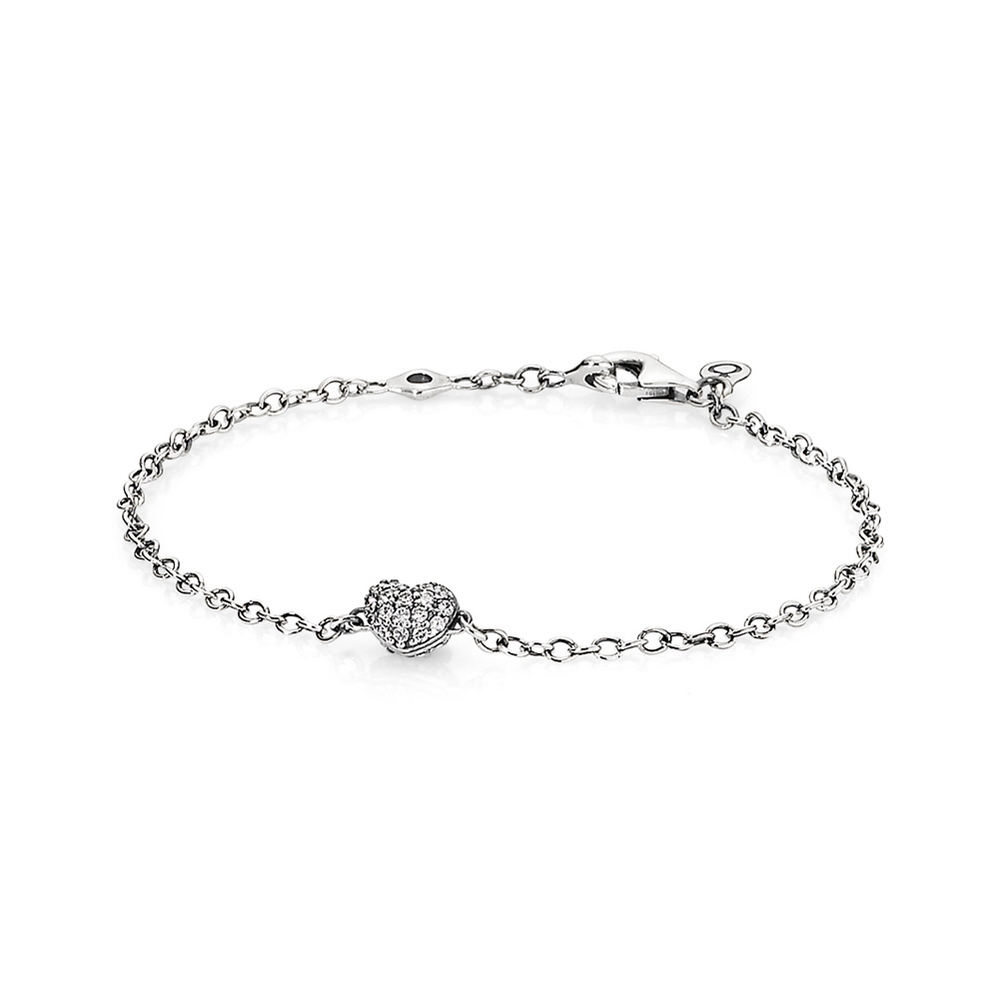 Heart pave silver bracelet with cubic zirconia