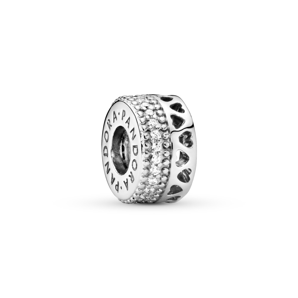 Hearts of PANDORA Charm, Clear CZ, Sterling silver, Cubic Zirconia - PANDORA - #797415CZ