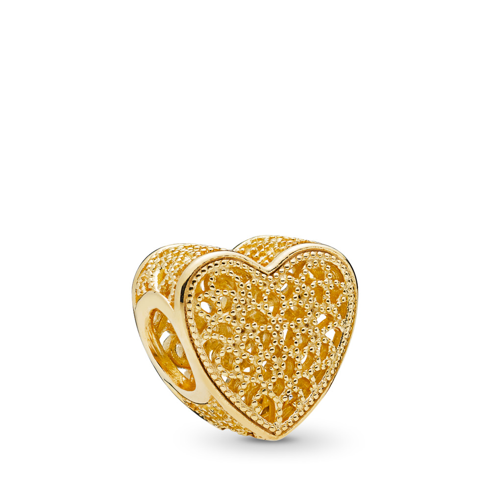 Filled with Romance Charm, PANDORA Shine™, 18ct Gold Plated - PANDORA - #767155