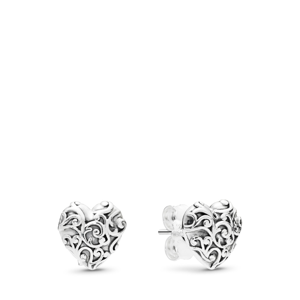 Regal Hearts Earrings, Sterling silver - PANDORA - #297693