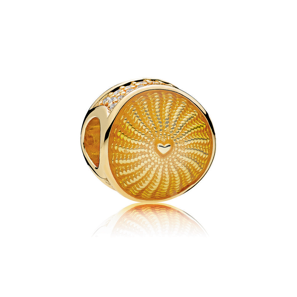 Rays of Sunshine Charm, PANDORA Shine™, Yellow Enamel & Clear CZ