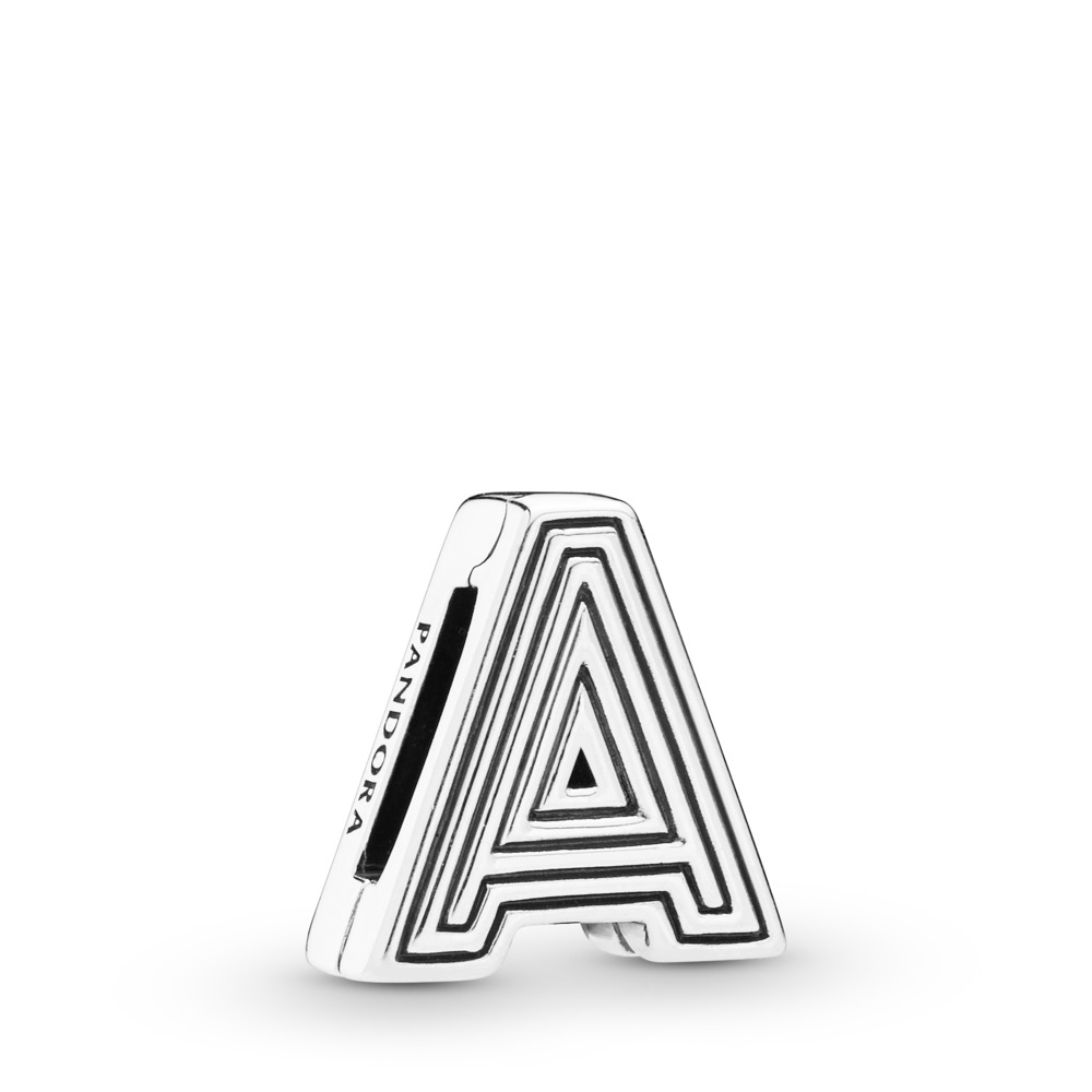 Pandora Reflexions™ Letter A Clip Charm, Sterling silver, Silicone - PANDORA - #798197