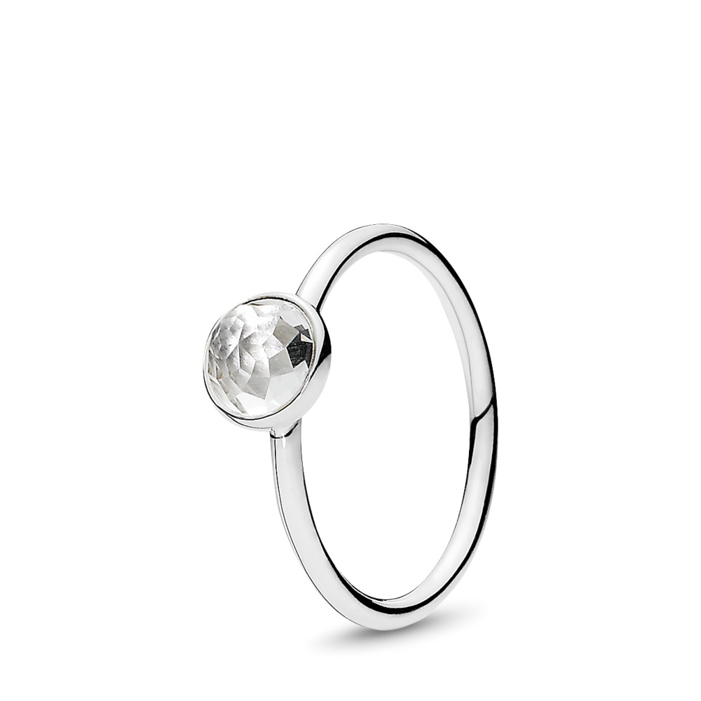 April Droplet Ring, Rock Crystal, Sterling silver, Rock crystal - PANDORA - #191012RC