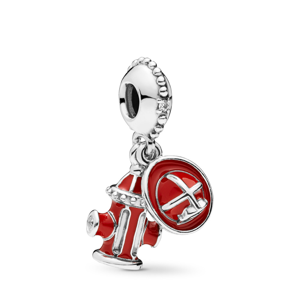 Firefighter Essentials Dangle Charm, Clear CZ & Mixed Enamel, Sterling silver, Enamel, Black, Cubic Zirconia - PANDORA - #797632ENMX