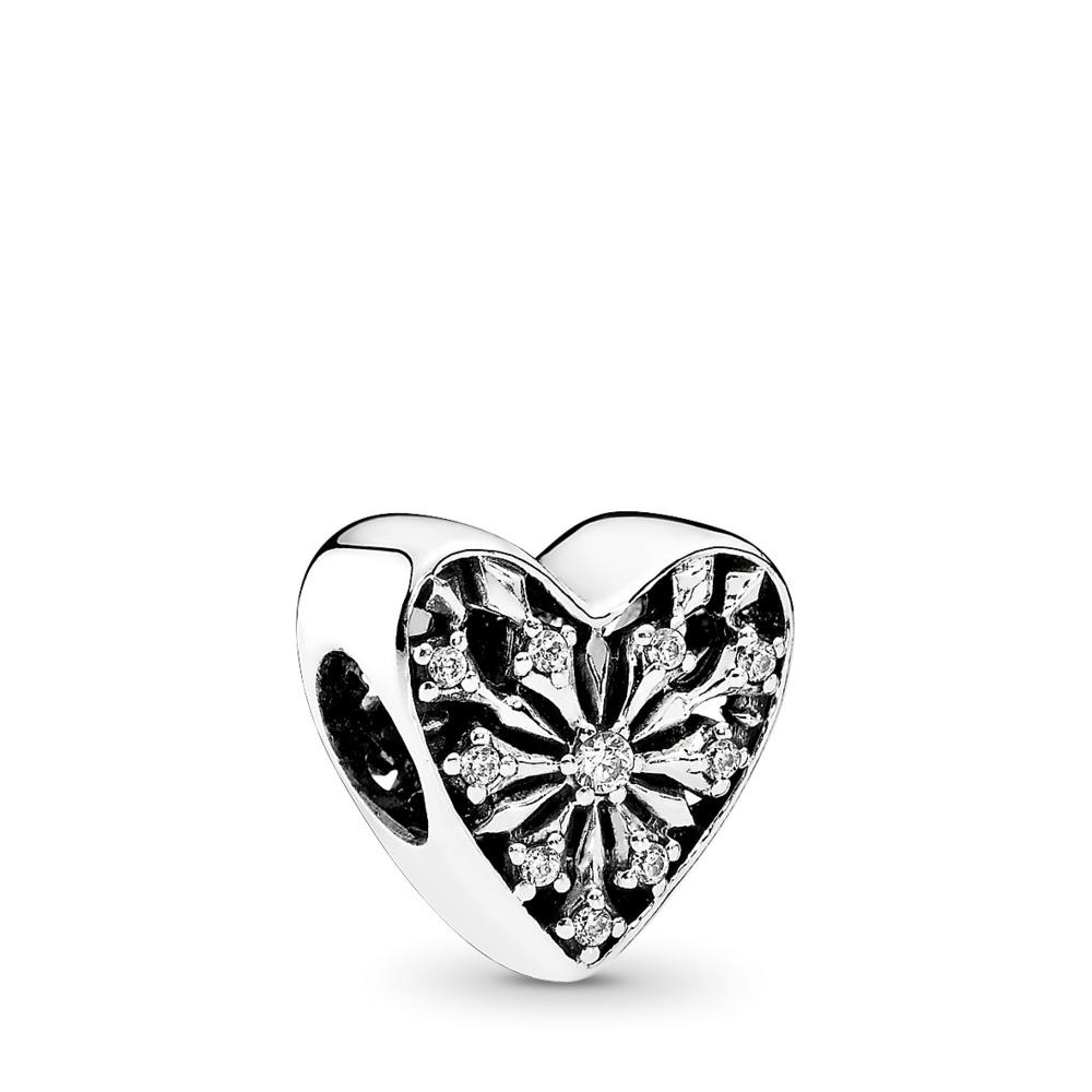 Heart of Winter Charm, Clear CZ, Sterling silver, Cubic Zirconia - PANDORA - #791996CZ