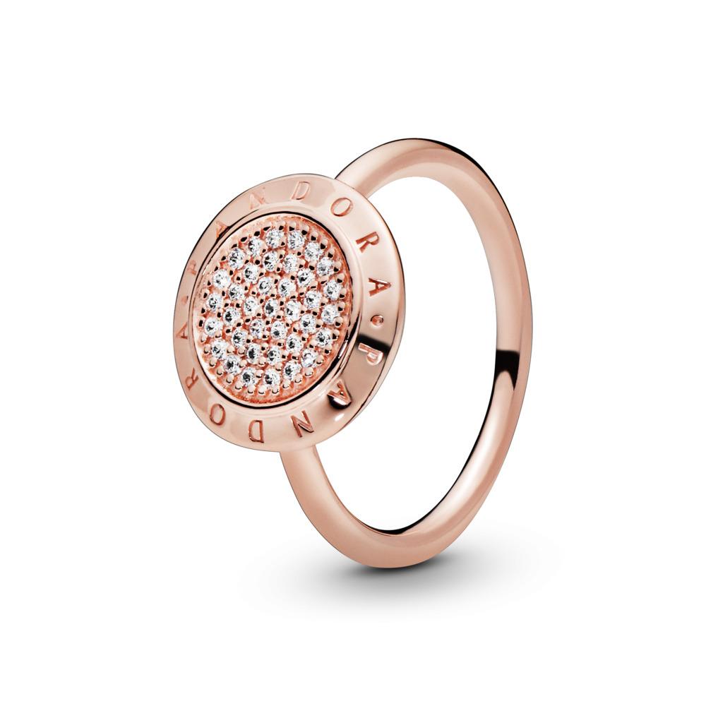 PANDORA Signature Ring, PANDORA Rose™ & Clear CZ, PANDORA Rose, Cubic Zirconia - PANDORA - #180912CZ