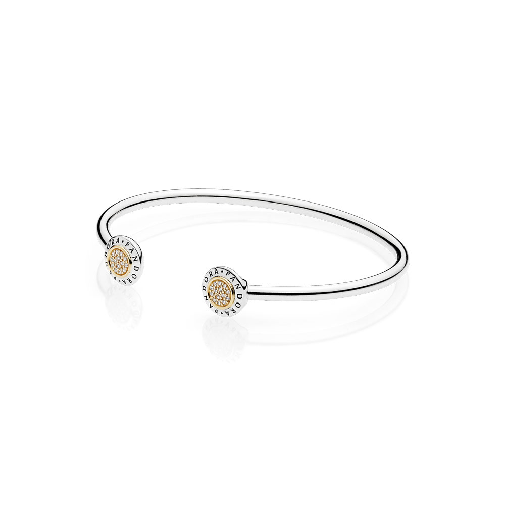 PANDORA Signature Bangle Bracelet, Clear CZ