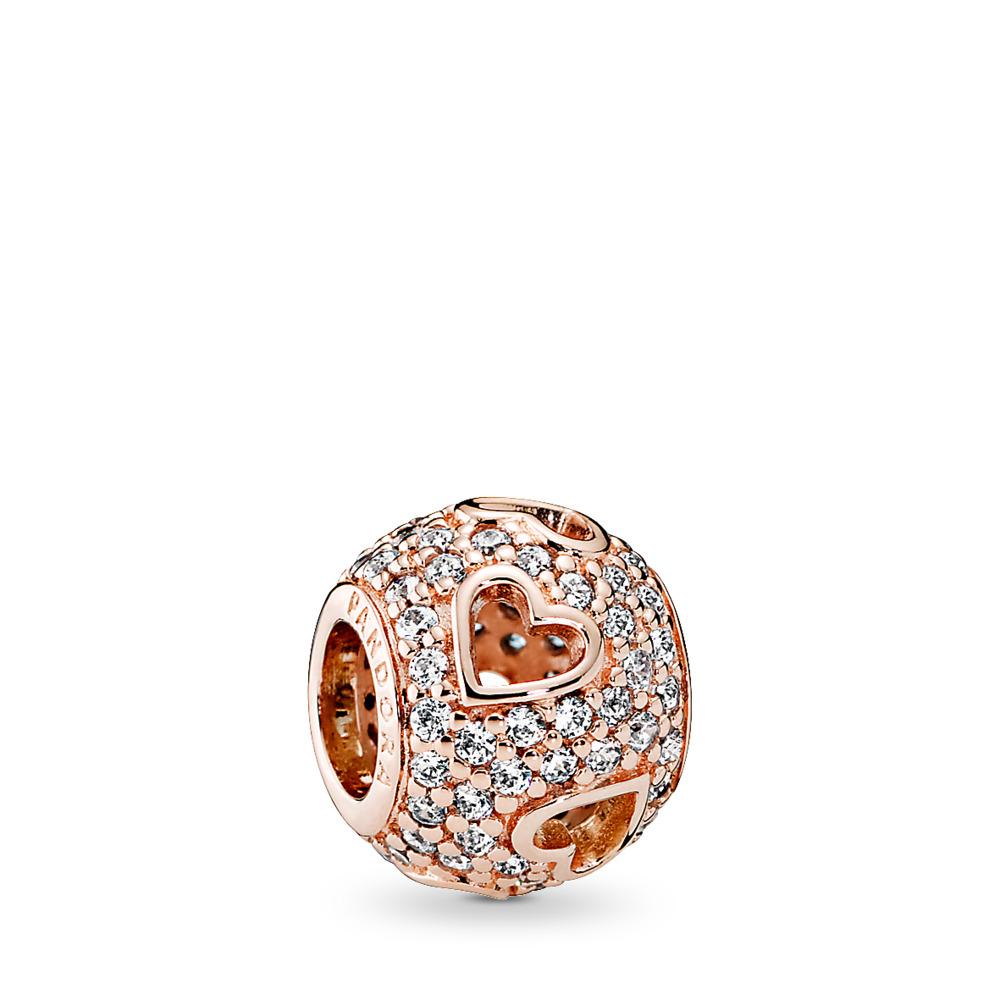 Tumbling Hearts Charm, PANDORA Rose™ & Clear CZ, PANDORA Rose, Cubic Zirconia - PANDORA - #781426CZ