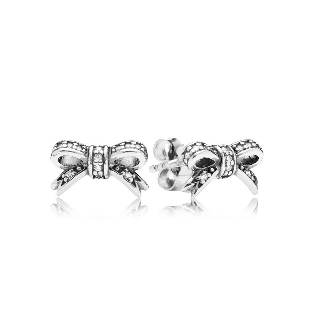 Sparkling Bow Stud Earrings, Clear CZ