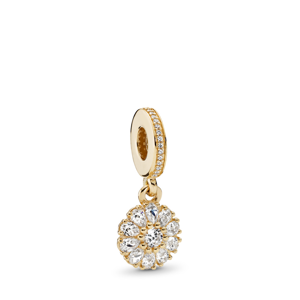 Embellished Floral Dangle Charm, 14K Gold & Clear CZ, Yellow Gold 14 k, Cubic Zirconia - PANDORA - #751002CZ
