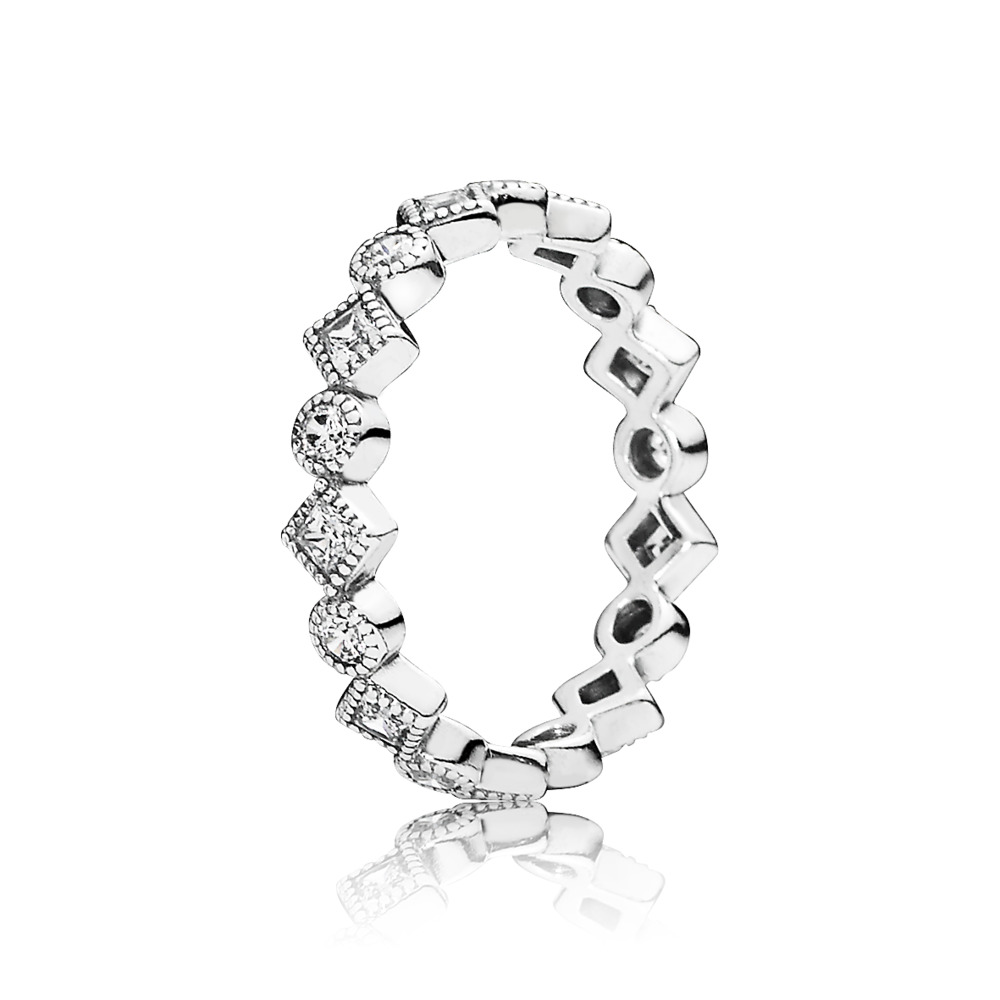 Alluring Brilliant Princess Stackable Ring, CZ, Sterling silver, Cubic Zirconia - PANDORA - #190943CZ