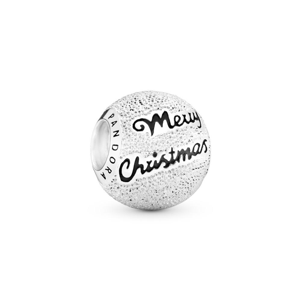 Merry Christmas Charm, Black Enamel