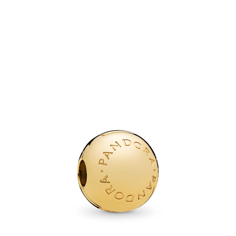 PANDORA Logo Clip, PANDORA Shine™, 18ct Gold Plated, Silicone - PANDORA - #767053