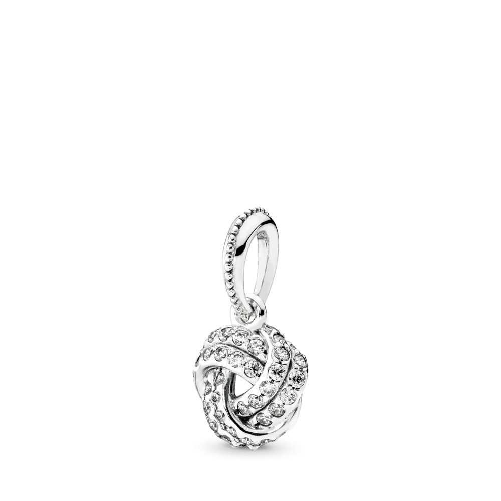 Sparkling Love Knot Pendant, Clear CZ, Sterling silver, Cubic Zirconia - PANDORA - #390385CZ