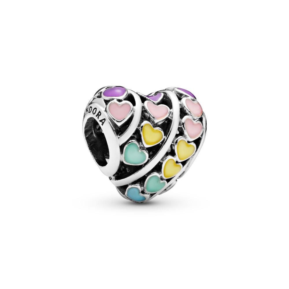 Rainbow Hearts Charm, Sterling silver, Enamel, Blue - PANDORA - #797019ENMX