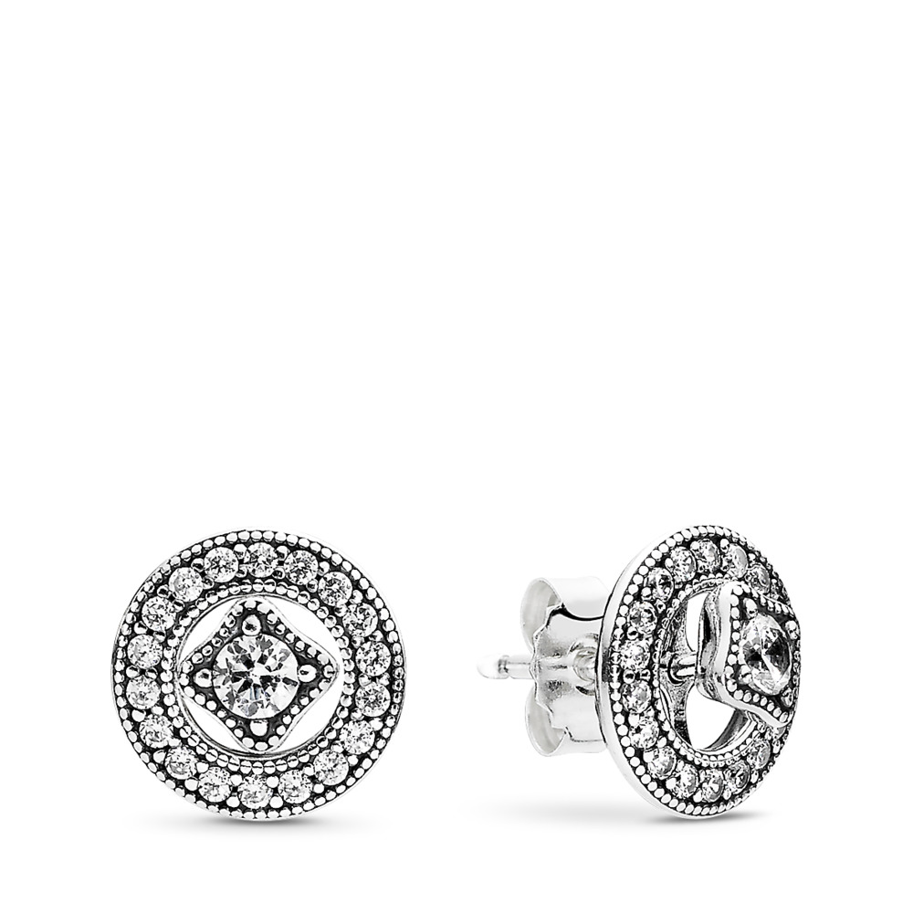 Vintage Allure Stud Earrings Clear Cz