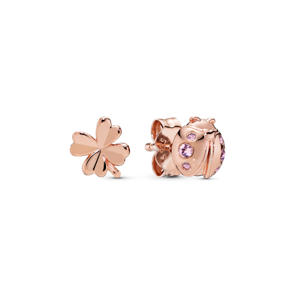 Four-Leaf Clover & Ladybird Earrings, Pandora Rose™, PANDORA Rose, Pink, Crystal - PANDORA - #287960NPO