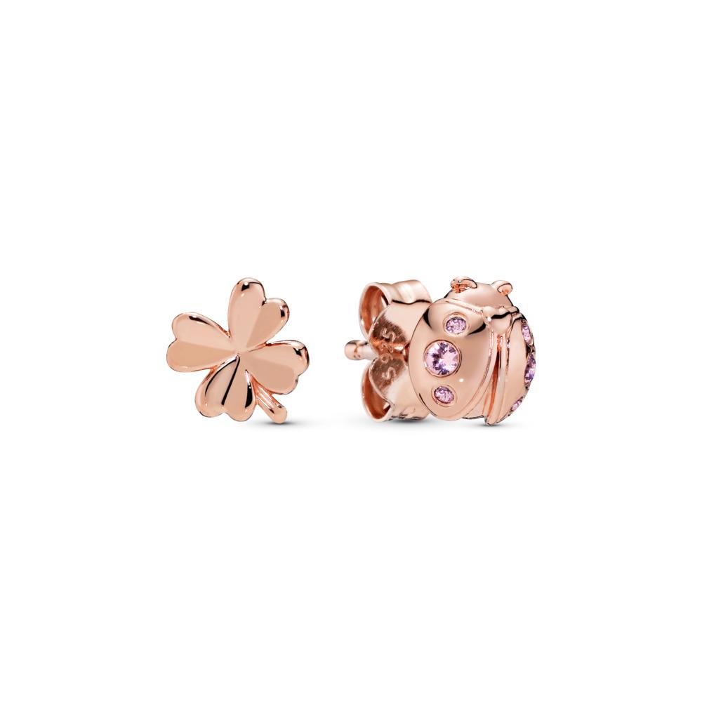 Four-Leaf Clover & Ladybird Earrings, Pandora Rose™, PANDORA Rose, Pink, Crystal - PANDORA - #287960NPO