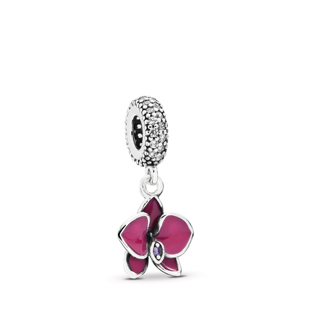 Orchid Dangle Charm, CZ & Radiant Orchid-Colored Enamel, Sterling silver, Enamel, Purple, Cubic Zirconia - PANDORA - #791554EN69