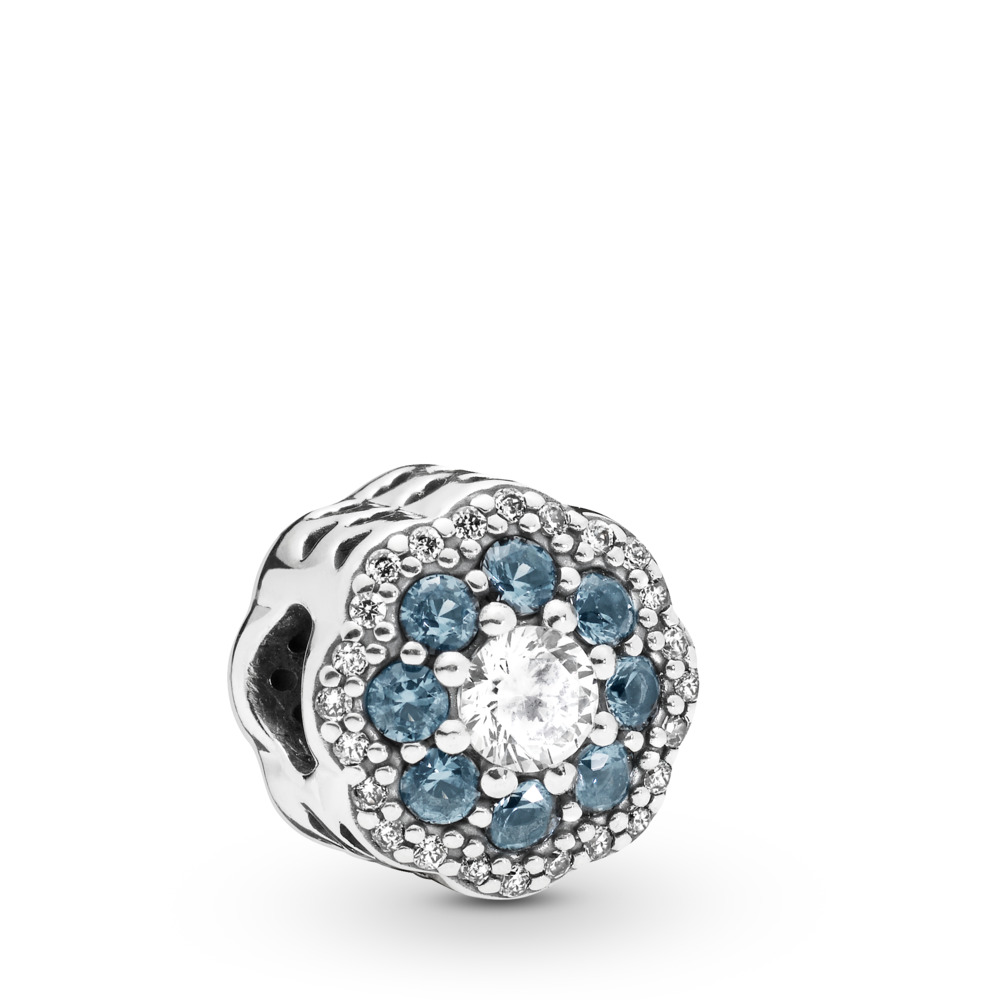 Blue Sparkle Flower Charm, Sterling silver, Blue, Mixed stones - PANDORA - #797851NMB