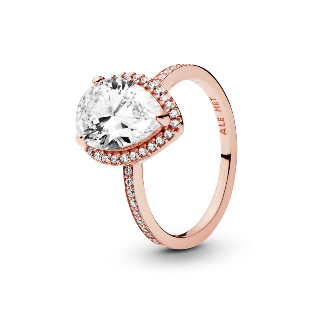 Radiant Teardrop Ring, PANDORA Rose™ & Clear CZ, PANDORA Rose, Cubic Zirconia - PANDORA - #186251CZ