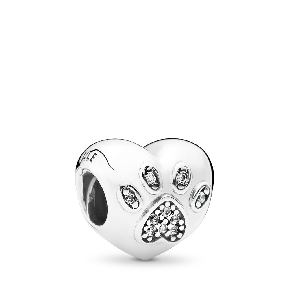 I Love My Pet Charm, Clear CZ, Sterling silver, Cubic Zirconia - PANDORA - #791713CZ