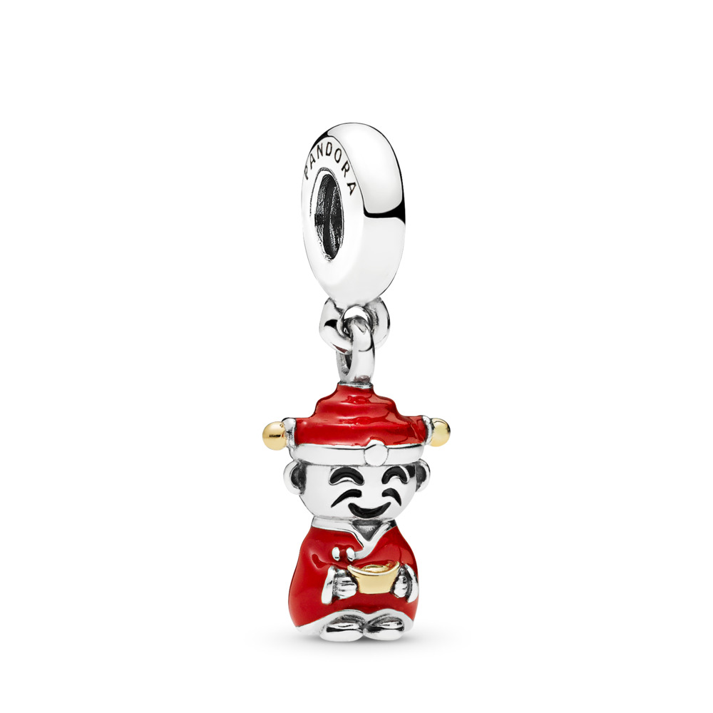 Fortune & Luck Dangle Charm, Red & Black Enamel, Two Tone, Enamel, Black - PANDORA - #796565ENMX