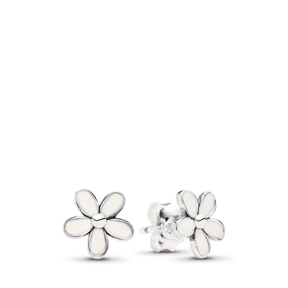 Darling Daisies Stud Earrings, White Enamel, Sterling silver, Enamel, White - PANDORA - #290538EN12