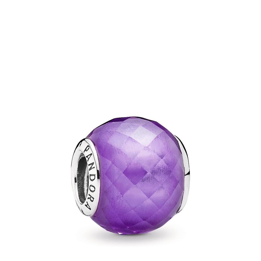 Petite Facets Charm, Purple CZ, Sterling silver, Purple, Cubic Zirconia - PANDORA - #791499ACZ